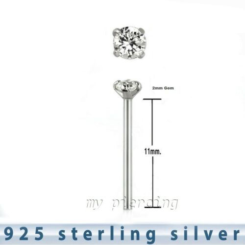 22g 2mm CZ Prong Set .925 Sterling Silver Straight Nose Ring Stud 5pcs