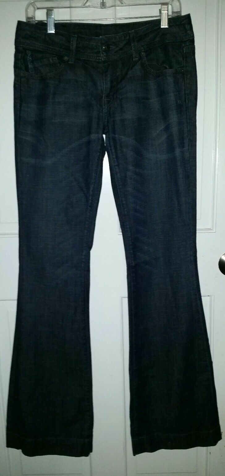 Genetic denim stretch fit & flare wide leg bell jeans. size 28 long tall