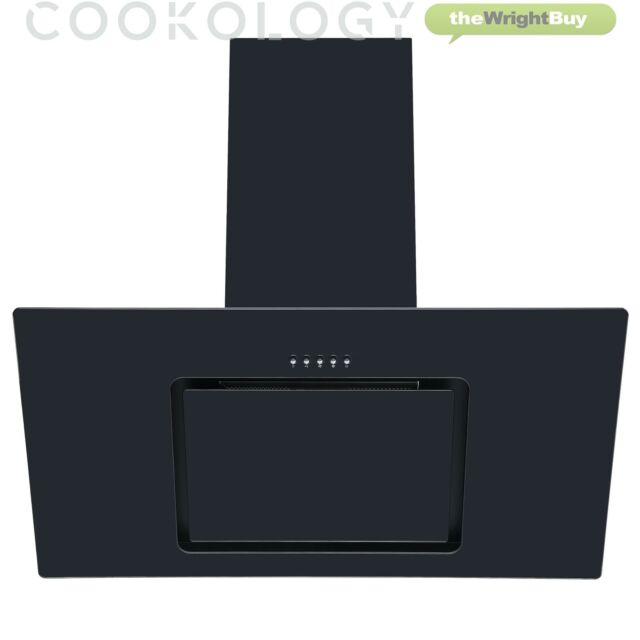CDA EKP60BL 60cm Curved Glass Extractor with edge lighting