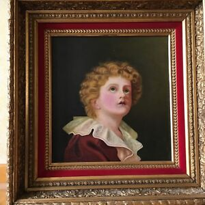 Antique-Victorian-Copy-of-Old-Masters-Painting-Gold-Gesso-Framed-Late-1800-039-s