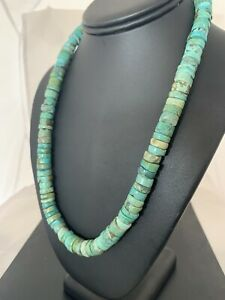 Native-America-Navajo-Turquoise-12mm-20-Heishi-Sterling-Silver-Bead-Necklace385