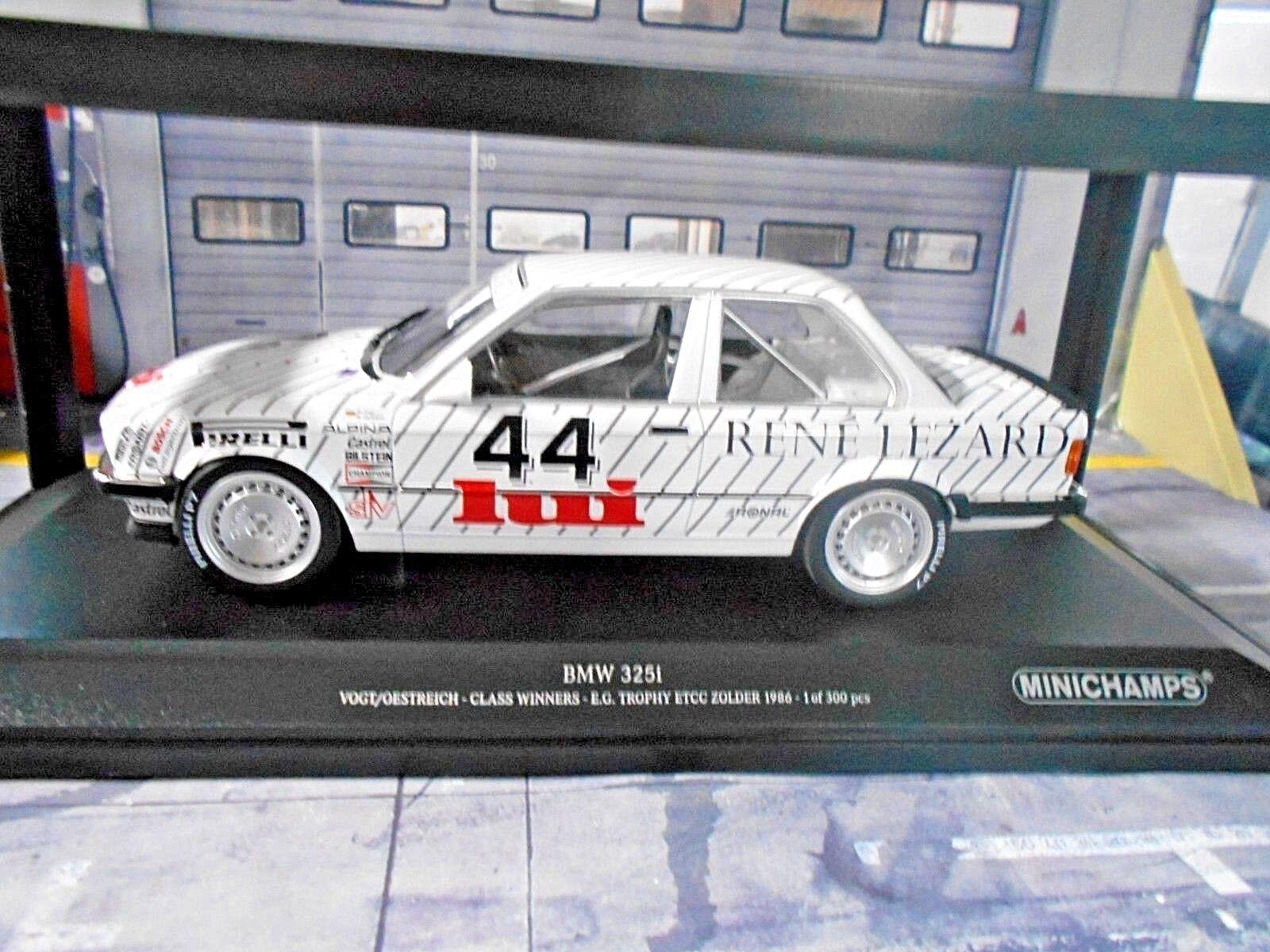 BMW 325i 3er e30 DTM ETCC Zolder 1986 spécifiant  44 Vogt ostreich Leza MINICHAMPS 1 18