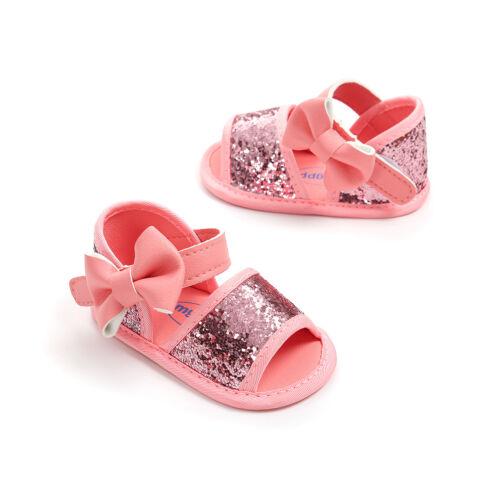0-18M Baby Infant Kids Girls Soft Sole Crib Toddler Summer Sequins Sandals Shoes