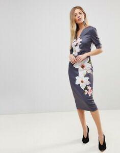 84df80e6 Ted Baker Bisslee Pencil Dress in Grey Chatsworth Bloom sz 5 UK 16 ...