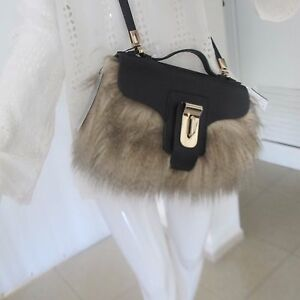 Image Is Loading Zara Nwt Collection 2017 Black Fur City Bag