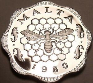 Malta-3-Mils-1980-Rare-Proof-3-451-Minted-Bee-And-Honeycomb