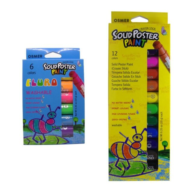 18 Osmer Solid Poster Paint Washable Crayon Sticks - Bold 12 and Fluro 6 packs