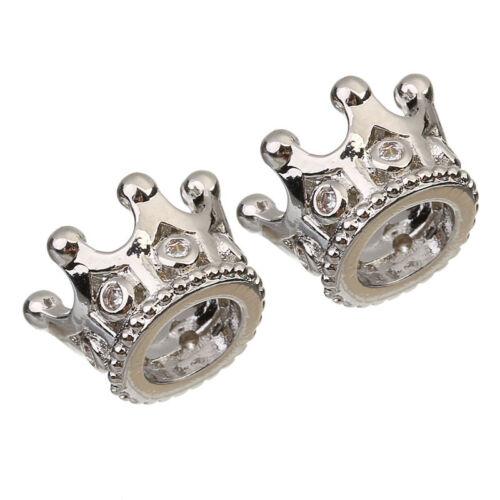2Pcs//lot Argent Plaqué Or Cz Couronne Perles Européen pour Collier Bracelets À faire soi-même