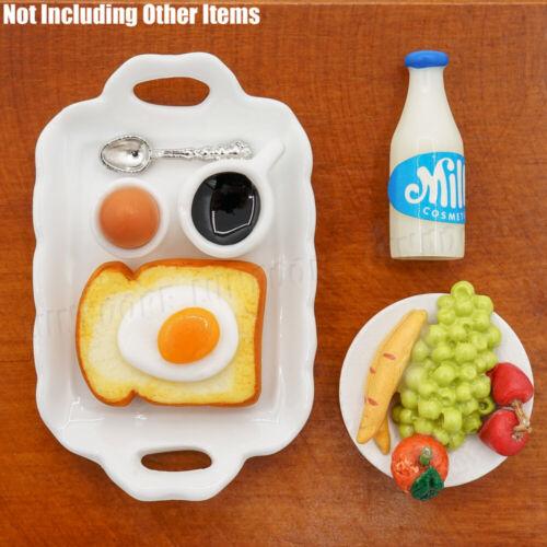 1:12 Miniature Breakfast Set Bread Egg Coffee w// Tray Kitchen Food Dollhouse Toy