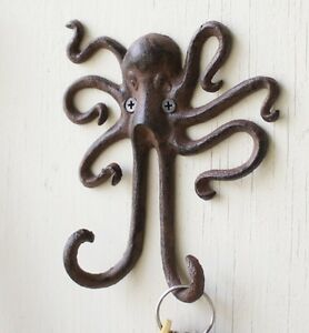 Towel hat bath nautical rustic octopus wall hook beach ocean shore fisherman ebay - Octopus towel hooks ...