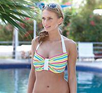 Bon Bon Bikini Top By Hoola Swimwear Hs103 In Multi Strpe. Bb-1
