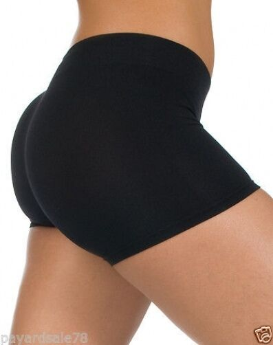 NEW WOMEN'S XS COTTON / SPANDEX BOOTY SHORTS LEGGINGS DANCE BLACK SEXY NWT