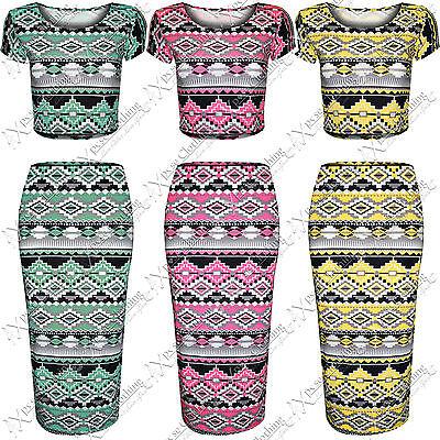 Kreativ New Womens Ladies Bright Aztec Print Suit Crop Top Midi Pencil Skirts Tops Set Kataloge Werden Auf Anfrage Verschickt