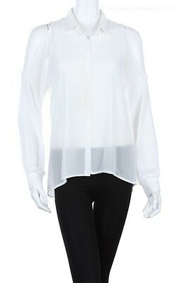 OPEN SHOULDER Sheer Blouse Long Sleeve Mesh Top Chiffon Shirt Button Down