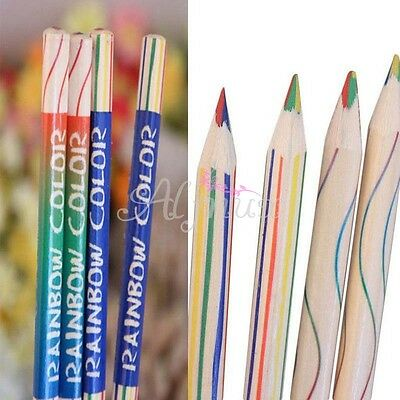 10pcs/Lot Wood Rainbow Color Pencil Pen 4 in 1 Art Drawing Painting Kids Office