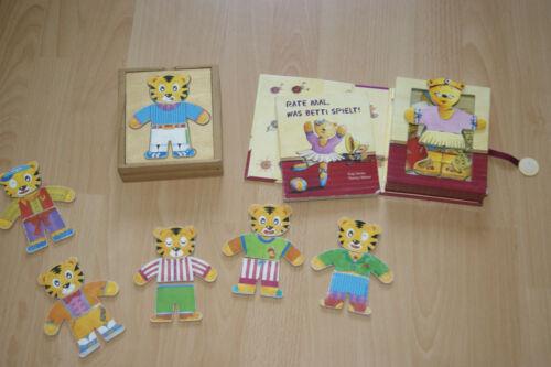 2 Set Anziehpuzzle Tiger Holzpuzzle+2in1 Buch und PuzzelRate mal,was Benni spiel Holzspielzeug
