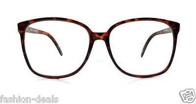 Retro Vintage Big Oversized Square Tortoise Brown Women Men Eyeglasses Glasses