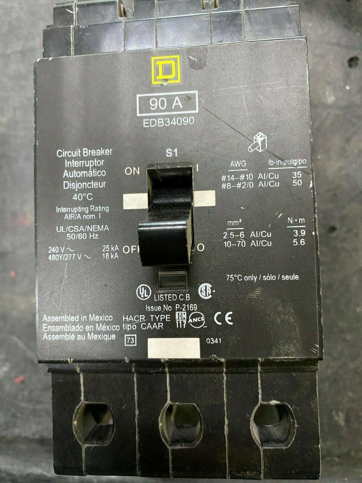 TESTED Square D EDB34090 90A 3 Pole 480Y//277V Circuit Breaker