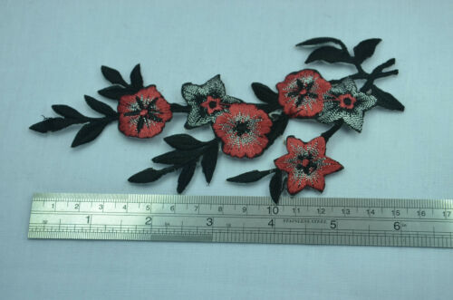 RED FLOWERS TRIM 15cm Embroidered Sew Iron On Cloth Patch Badge APPLIQUE BLACK