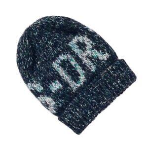 08ed3bee587 SUPERDRY Womens Ladies Wool Blend Sparkle Twist Blue Beanie Hat One ...