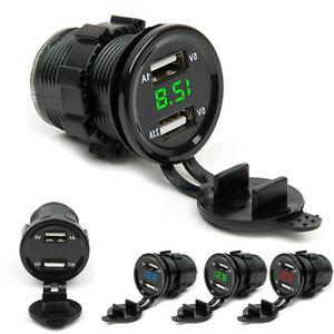12V-24V-Dual-Port-USB-Alimentation-Prise-Allume-Cigare-Voiture-LED-Voltmetre