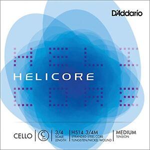 D'Addario Helicore Cello Single C String, 3/4 Scale, Medium Tension