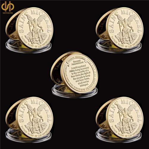 5PCS USA  Gold Challenge Coin St Michael The Prayer Archangel Medal