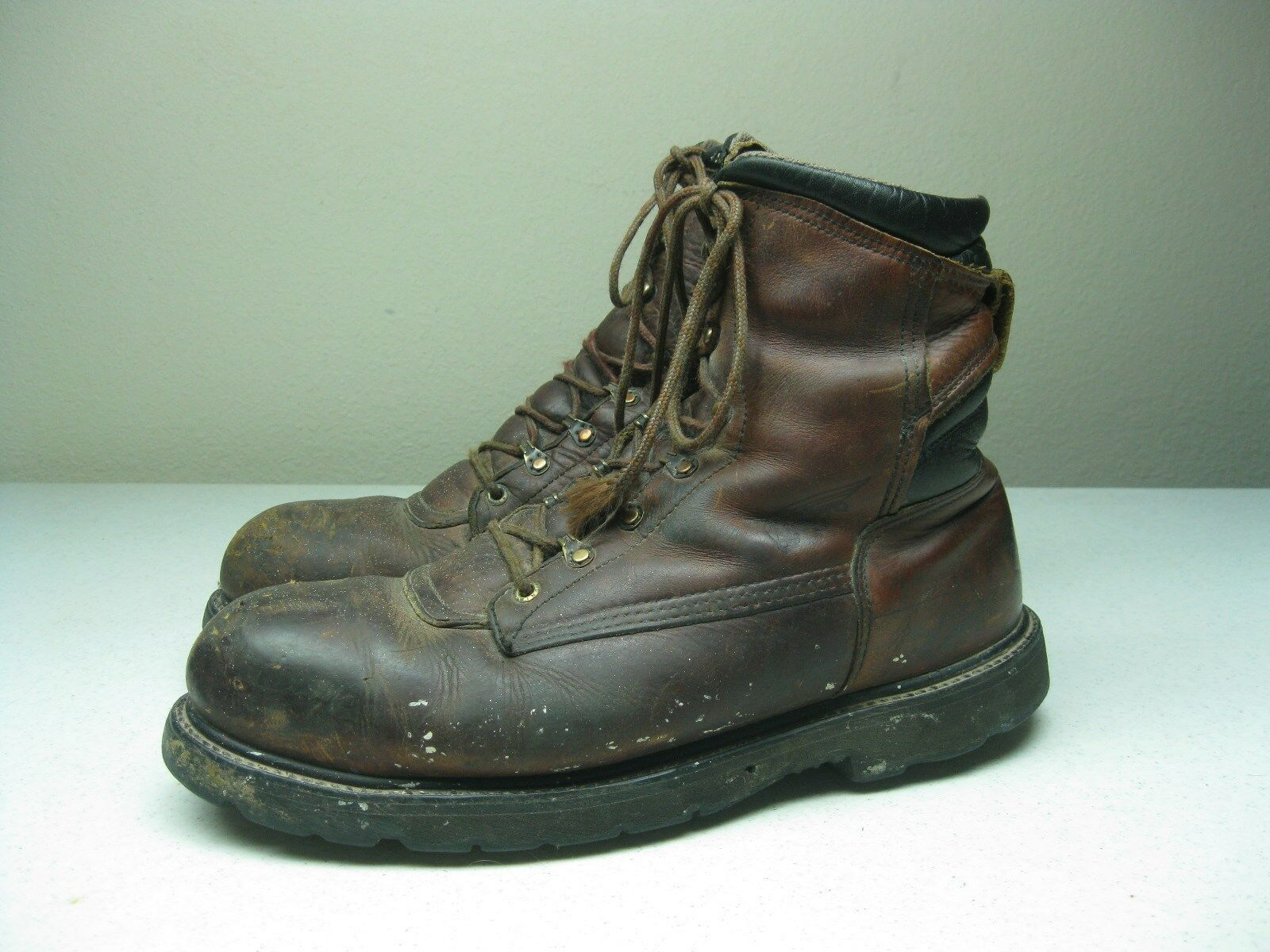 BROWN LEATHER MADE IN USA RED WING STEEL TOE MOTORCYCLE LACE UP WORK BOOTS 12 E
