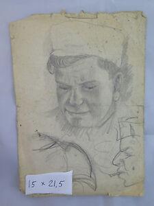 Antike-Zeichnung-auf-Papier-Portraet-Seemann-Katalog-Maestro-Getano-Pancaldi-P28