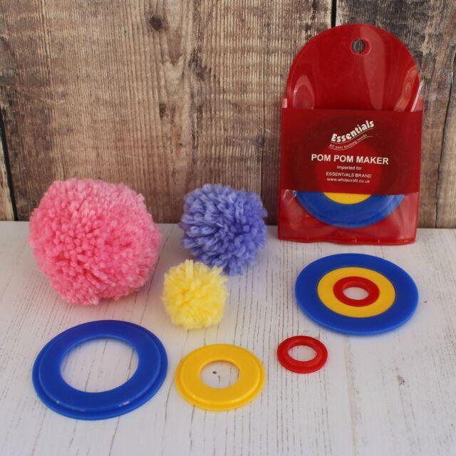 Pom Pom Maker Whitecroft Essentials Brand 3 Sizes in 1