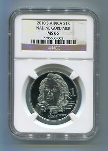 NGC-Graded-South-Africa-Protea-Series-2010-Nadine-Gordimer-Silver-R1-MS-66-Coin