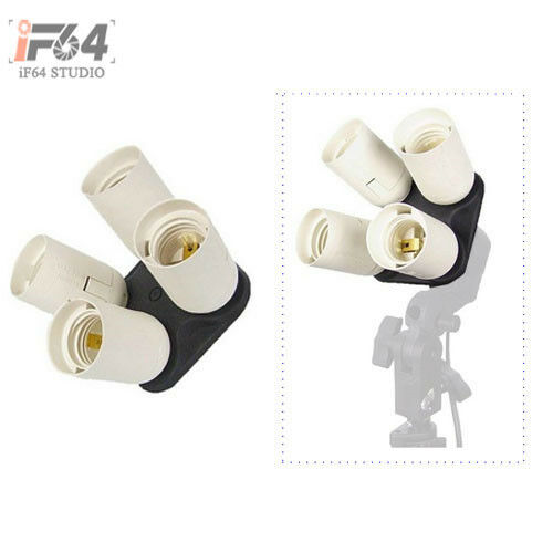 4 in 1 Photo Studio Light Lamp E27 adapter holder for Four Continuous Light Bulb