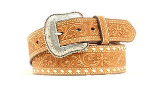 Nocona-Medium-Brown-Leather-Mens-Tooled-Cross-Belt