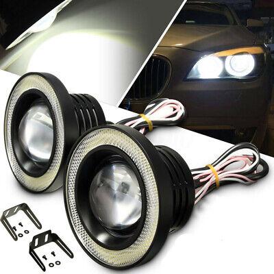 2x 3.5/'/' RGB LED COB Car Angel Eyes Halo Fog Light Lamp Project DRL Control