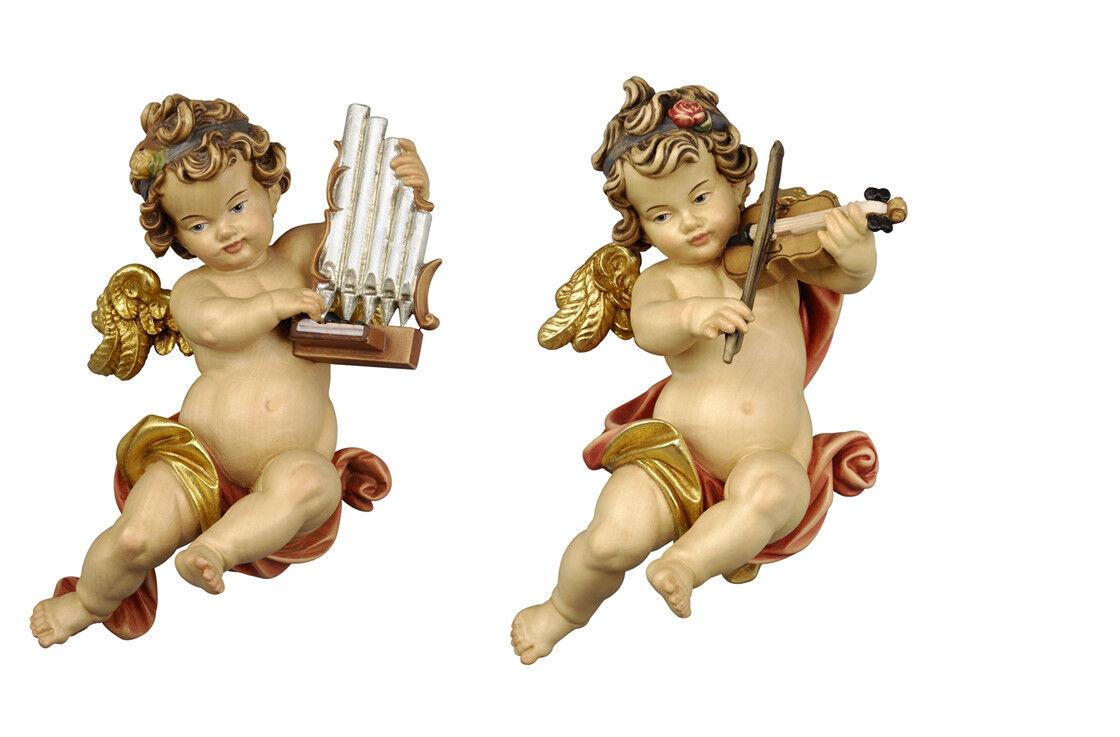 Putten- 2 Engel O.V. Musiker von der Wand in Holz - 2 Wall Angels geschnitzt