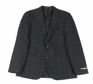 Karl Lagerfeld Mens Sport Coat Black Size 40 Plaid Textured 2-Button $350 #268