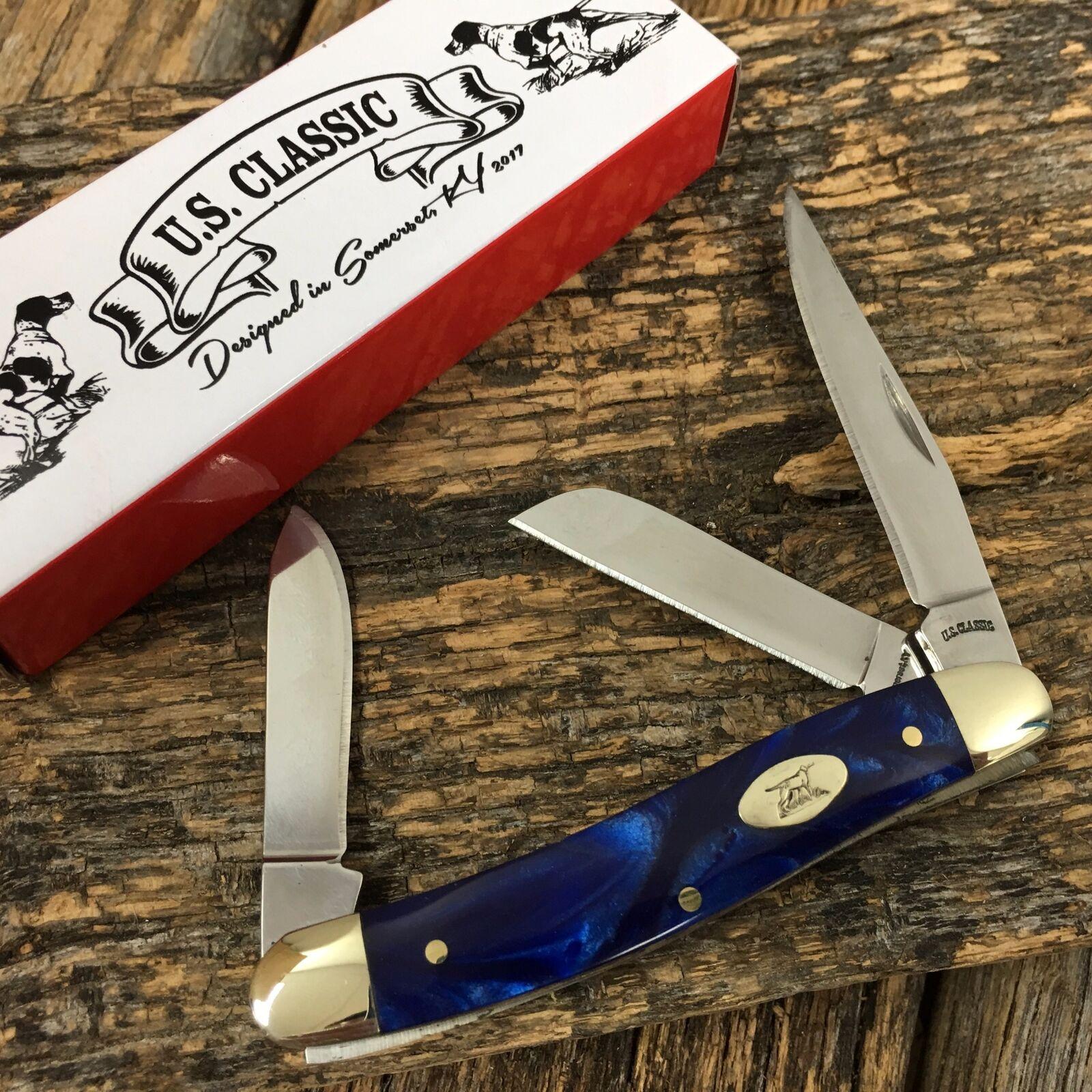 U.S. CLASSIC Folding Pocket Knife 3 1/2″ Blue Swirl Handles NEW EM2567065002 h