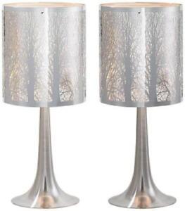 Possini Euro Design Laser Cut Chrome Table Lamp Set Of 2 Ebay