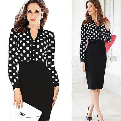 Women Casual OL Slim Elegant Vintage Polka Dot Print High waist Pencil Dress