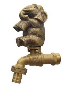 Brass Garden Faucet Tap Thai Elephant Spigot Vintage Water Home Decor Outdoor