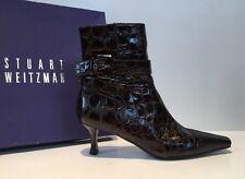 Stuart Weitzman Sz 7.5 Brown Croc Patent Leather Kitten Heel Ankle Boots