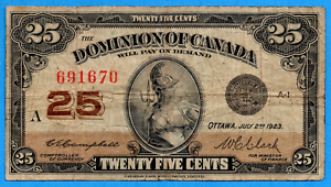 25-Cents-1923-Dominion-of-Canada-Shinplaster-Note-DC-24d-Very-Good