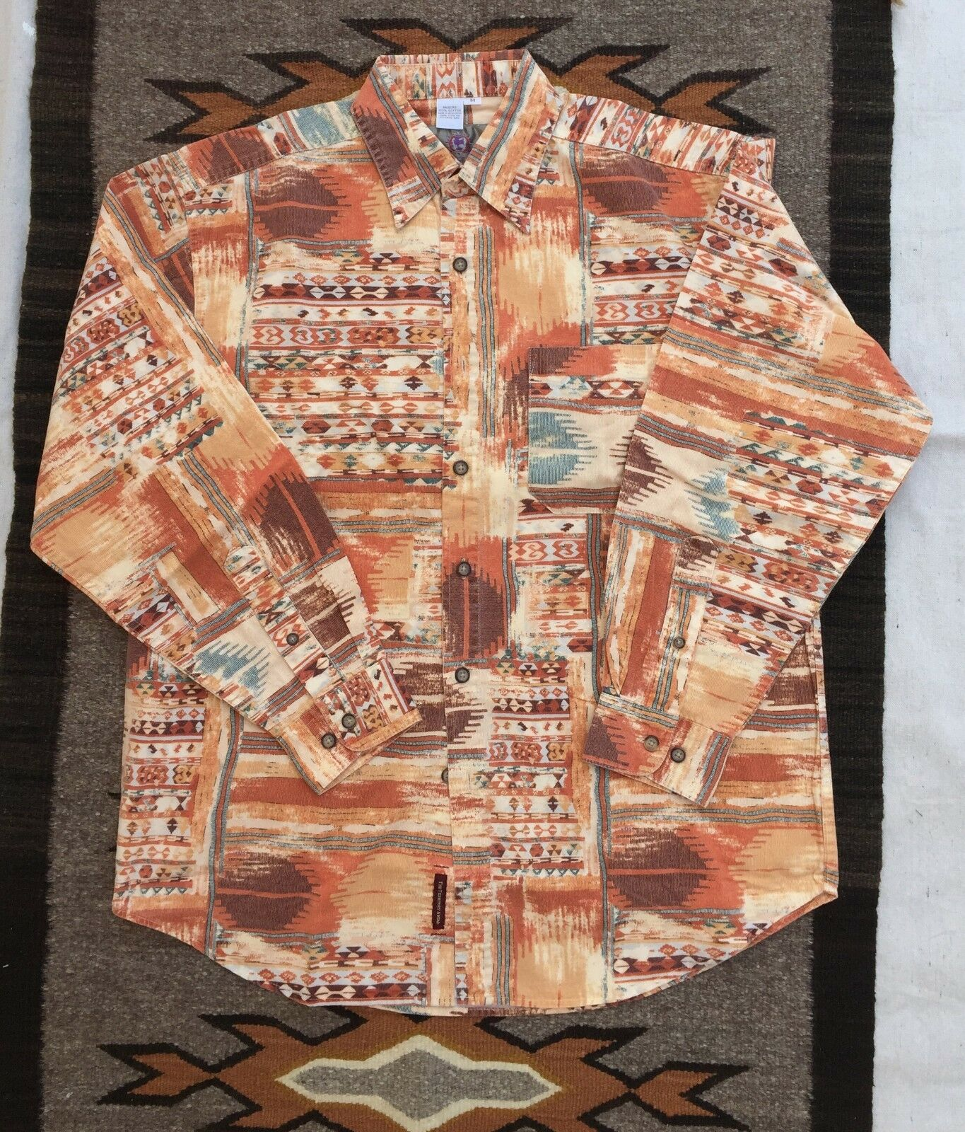 NEW The Territory Ahead MENS -Sz M Southwest Indian Abstract Art-to-Wear Shirt