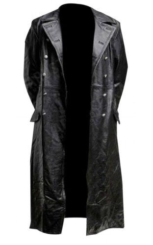 Da Uomo Classico Tedesco WW2 militare ufficiale uniforme nera in pelle Trench