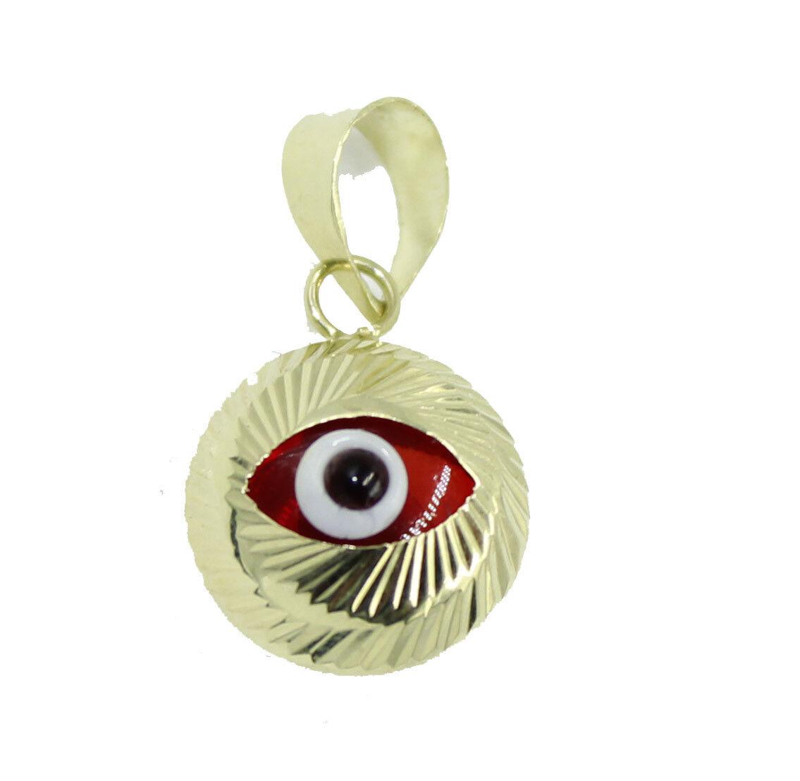Red Evil Eye 14k Yellow gold Charm - Red Evil Eye14k gold Pendant
