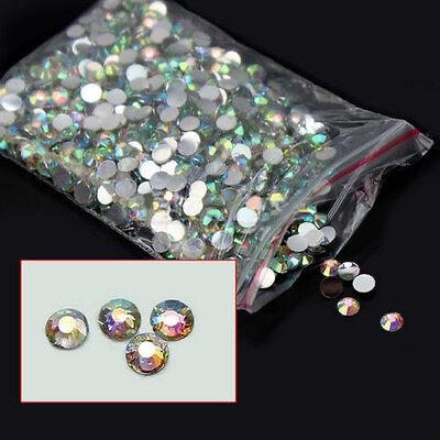 1000Pcs Marvellous 4mm Nail Art Flatback Crystal AB 14 Facets Resin Beads CCD2