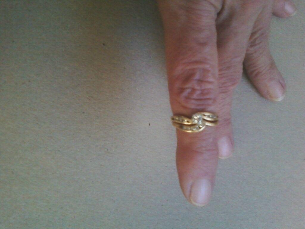 Bridal Set, Diamonds, Size 5 1 2, 14kt, Single cut diamonds, Center 20 points.