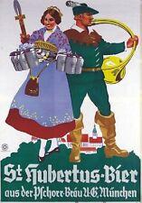 """Vintage Werbeschild """"1935 St. HUBERTUS BIER"""" WERBUNG,ADVERTISING,POSTER, REKLAME"""