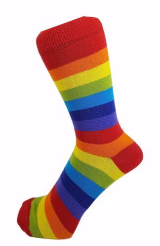 Men Women Cotton Rich Striped Rainbow Color Ankle Socks