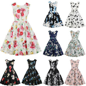 Womens-Vintage-Style-Pinup-50s-Rockabilly-Floral-Swing-Tea-Dress-Cocktail-Party